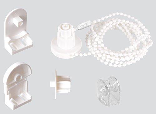 1er Set EFIXS Montageset für Rollo mit 25 mm Rollowelle - Farbe: weiß - Länge der Kette (Bedienlänge): ca. 120cm