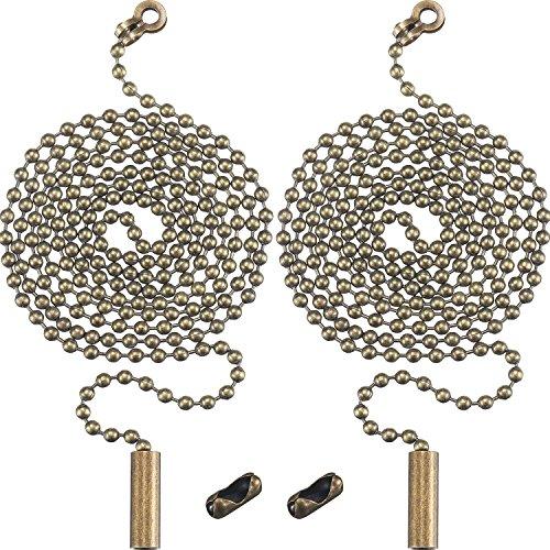 Shappy 2 Packung Bronze Perlen Pull Chain Erweiterung mit Stecker für Deckenleuchte Fan Kette, 1 Meter Länge