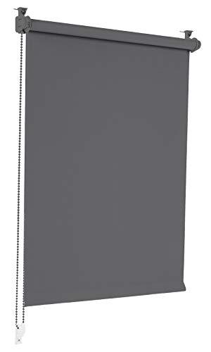 Sonello Verdunkelungsrollo Klemmfix ohne Bohren 90cm x 130cm Grau Verdunklungsrollo Fensterrollo Rollo Seitenzugrollo Klemmrollo für Fenster & Tür
