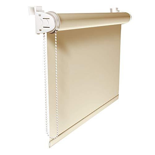 Victoria M. Klemmfix Verdunkelungsrollo ohne Bohren Rollo 100 x 150 cm, Creme, Seitenzugrollo Verdunkelung für Fenster und Türen