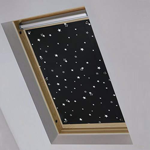 KINLO Thermo Sonnenschutz Dachfensterrollo für Dachfenster S08 und 608 ohne Bohren Verdunklungsrollo Rollo UV Schutz mit Saugnäpfe, Schwarz+Sterne 96 x 115 cm