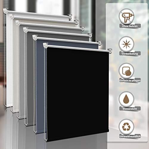 Sanfree Verdunklungsrollo ohne bohren Klemmfix, reflektierende Thermofunktion Klemmrollos für Fenster, Sichtschutz Fensterrollos Blickdicht Verstellbare Klemmträger,Schwarz 45x170cm (BxH)