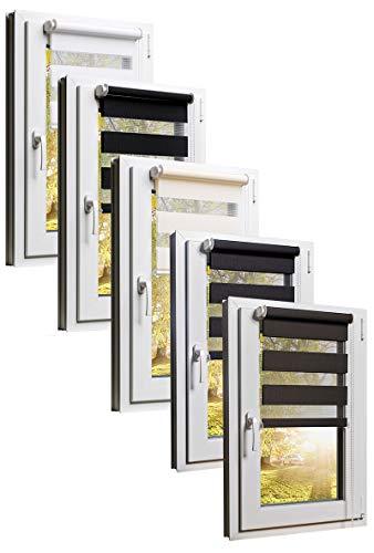 TEXMAXX Doppelrollo Klemmfix ohne Bohren 45 x 150 cm ( Stoffbreite 41 cm ) in Grau - Anthrazit - Klemmfix Rollo - Rollos für Fenster ohne bohren