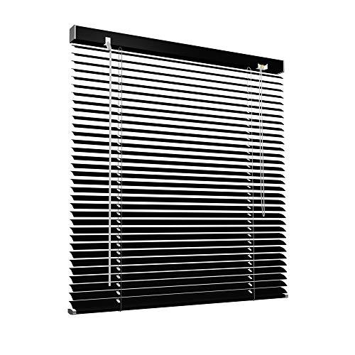 Victoria M. Aluminium Jalousie, 140 x 130 cm, schwarz, Jalousie ohne Bohren, inkl. Klemmclips